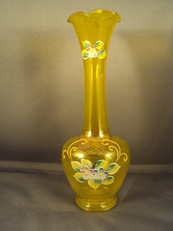 Vintage Enesco yellow glass vase with raised by GallatinStreet