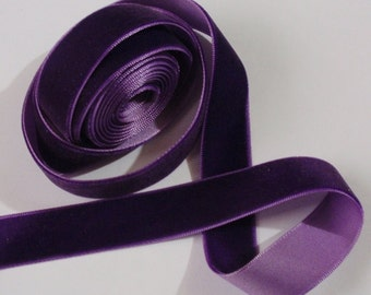 5 yards 3/4 inches Velvet Ribbon in  purple RY34-089