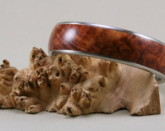 Hand Turned Bangle Bracelet: Amboyna Burl on Stainless Steel