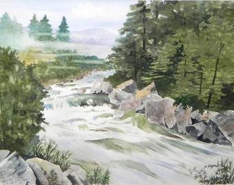 "Original Watercolor Landscape Painting, Fast Running Stream, 16""x22"""