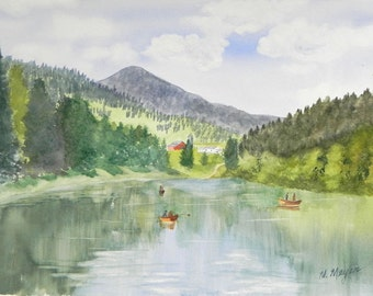 Original Watercolor Landscape Painting, Mountain and Lake Scene, 15x20