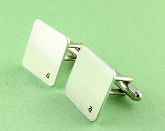 SALE - Initial or Monogram Cufflinks - Custom Hand Stamped Square Cuff Links - Christmas Gift - Shirt Fasteners - Wedding Gift