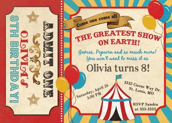 Circus Invitation Carnival Birthday Invitation Vintage – Carnival Ticket Birthday Invitations