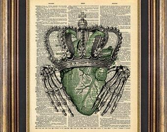 CLADDAGH Irish Skeleton Hands St Pattys St Patricks Day Vintage Book Page print