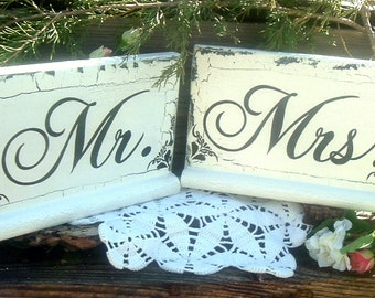 Mr Mrs Wedding Signs Wood Signs Rustic Wedding Signs with crackling