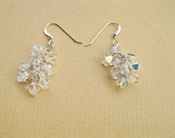 Wedding jewelry, Twig earrings, Bridal Silver earrings, Swarovski crystal jewelry. CHandelier earrings, bridesmaid gift,mom/sister gift