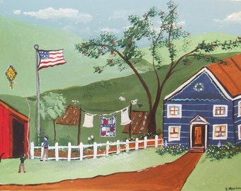"Folkart acrylic painting entitled ""No Place Like Home""."