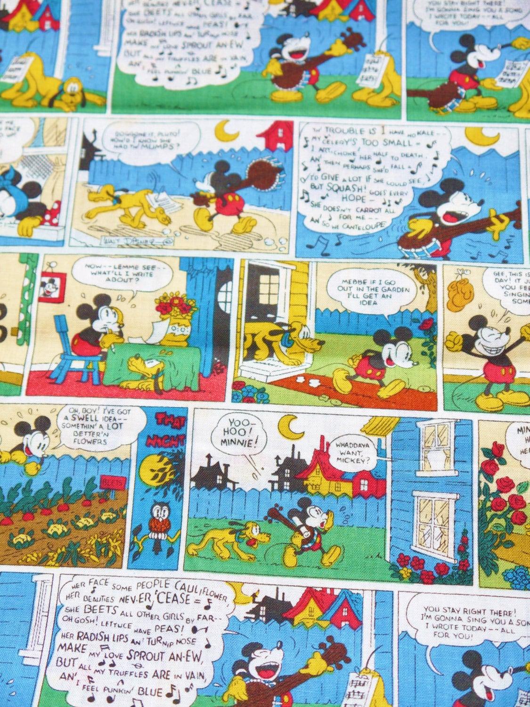 Retro Mickey Mouse Comic Strips Fat Quarter Fabric Cotton