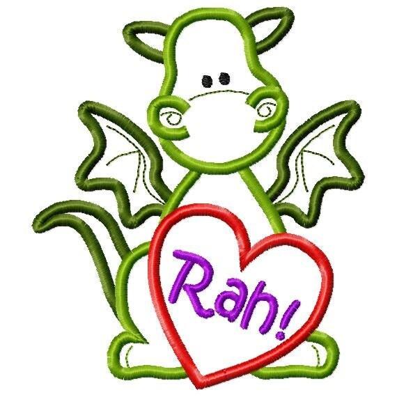 Schön Puff Dragon With Heart Monogram Frame   Optional Rah On Heart   Perfect For  Valentine Applique Digital Machine Applique Embroidery Design