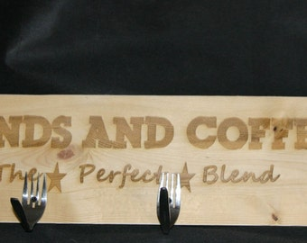 Hanging Wood Coffee Mug Holder