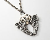 Gear Wings functioning kinetic necklace in white bronze by Bakutis
