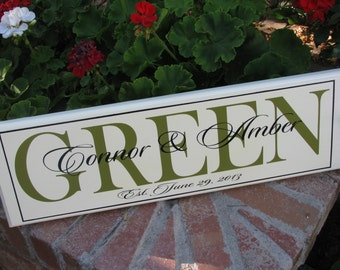Personalized Wedding Gift, Personalized Last Name, Wood Signs, Custom Hand Painted, Wooden Signs, Family Name Plaque, Established Name Sign