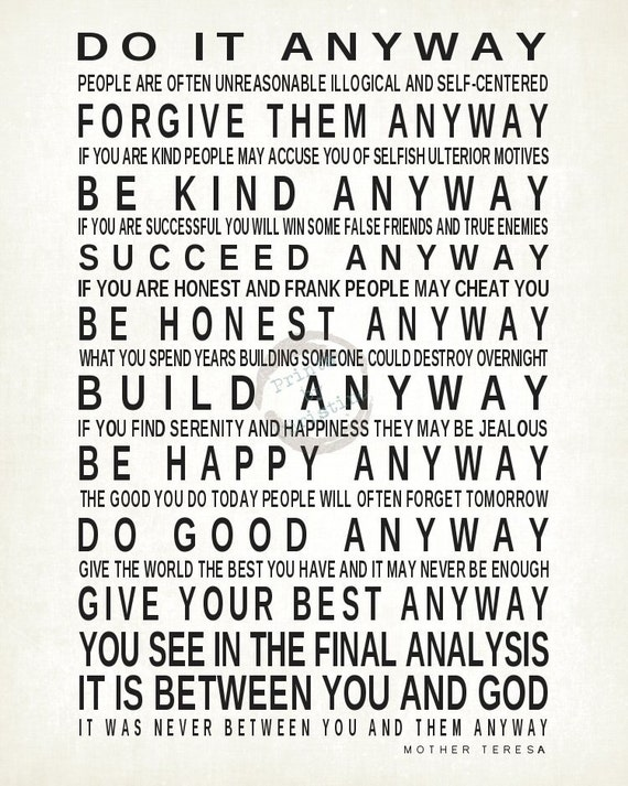image regarding Mother Teresa Do It Anyway Printable identify Printable Mom Teresa Quotations Every day Drive Prices