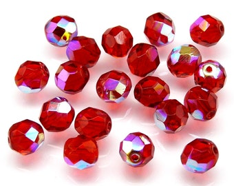 25pcs 8mm Czech Fire-Polished Glass Beads Faceted Round Siam Ruby AB (B494)