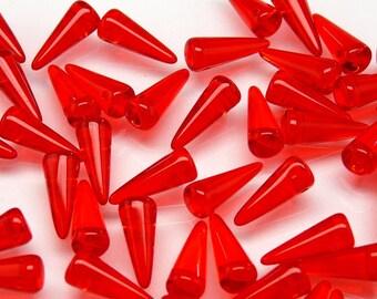 12 pcs Czech Glass Spike Beads 5x13mm  Ruby Transparent (13SP007)