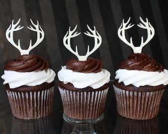 12 Deer Antler Cupcake Toppers (Acrylic)