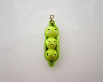 Kawaii Sweet Peas in Pod Polymer Clay Charm