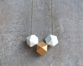 Geometric Necklace / Geometric Jewelry / Wooden Necklace/ White and gold // Statement necklace white gold