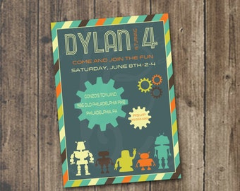 Robots and gears in silhouette birthday invitation 5x7: Printable and Customizable