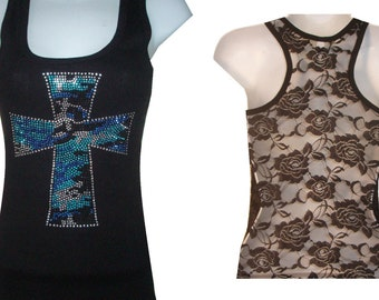 Brand New Rhinestone & Stud Blue Zebra Cross  Lace Back TANKTOP Shirst Blacks Size:S, To XL  Free Shipping available in white color