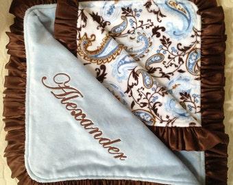 Custom Baby Blanket- Blue & Brown Paisley