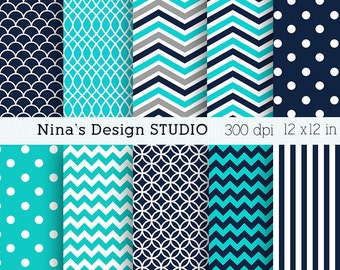 50% SALE INSTANT DOWNLOAD Teal and Navy digital paper pack Personal and Commercial Use