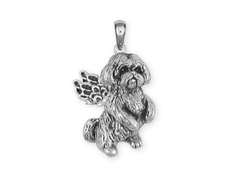 Silver Lhasa Apso Angel Pendant Jewelry  LSZ9A-P