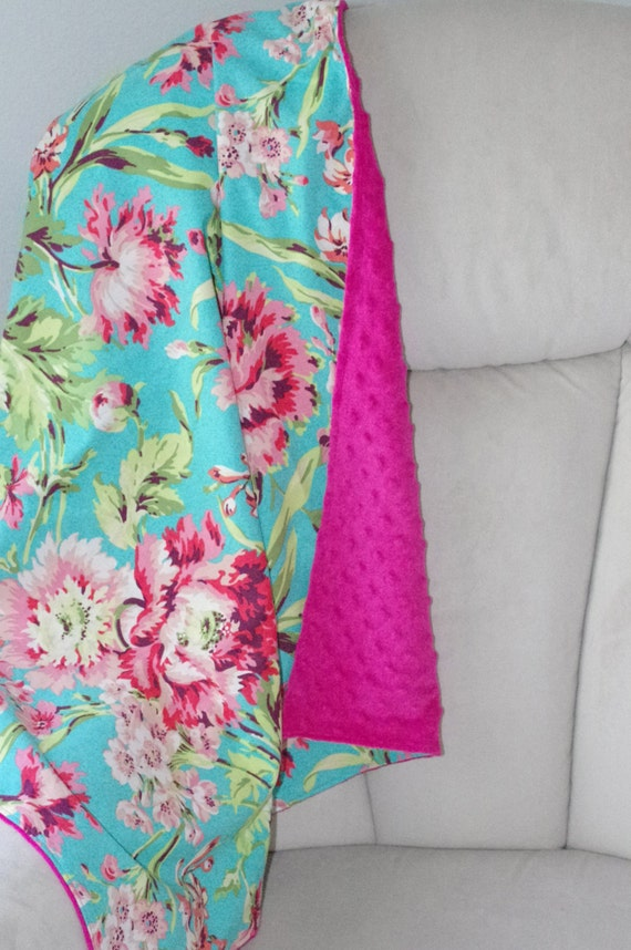 """Baby Blanket with Minky Backing in """"Bliss Bouquet"""" by Amy Butler- Ready To Ship"""