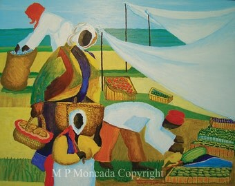 Wednesday Market, Landscape Giclee Of An Original Acrylic Painting By M P Moncada