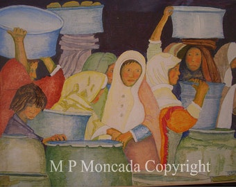 "At The Well, Still Life/Portrait, 11""x 14"" Giclee Of An Original Egg Tempera Painting By M P Moncada"