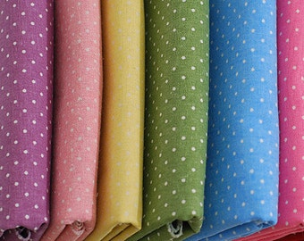 SALE - Polka dot fabric / Green cotton linen blended fabric (half yard)