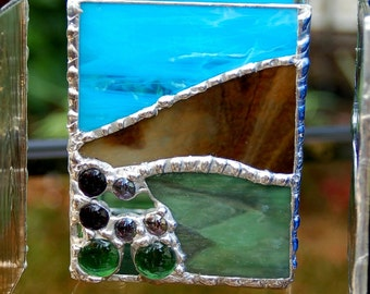 Stained glass candle holder waterfall great gift by for Waterfall design etsy