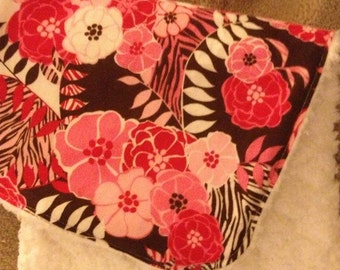 Zebra floral burp cloth