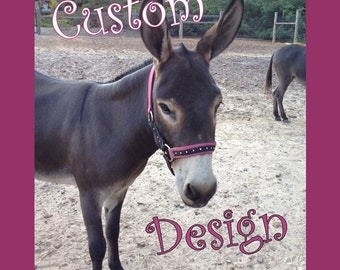 Customized horse or donkey halter w/ overlay -Choose color
