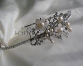 Bridal Headdress - Handmade Freshwater Pearl & Swarovski Crystal Side Detail Headband Tiara