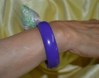 Vintage Purple Lucite Bangle Bracelet, Opaque