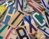 Keychain  Handmade Key Chain Pick your Initial  Upcycled Recycled Repurpsosed License Plate Art  Best Selling Etsy trending