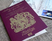 Passport Personalised Wedding Day Evening Invitations Invites (Sample Pack)