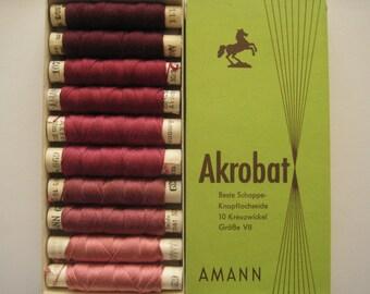 AMANN Akrobat 30/3 10m - Pure Silk Thread - Colour - Shade of Maroon - 10 spools