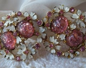 Vintage Pink Lucite Confetti and Enamel Daisy Flower Earrings Craft Repair Wear Destash LOOK