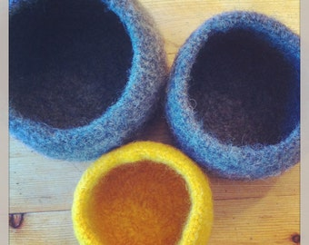 Felted Bowls, Wool Bowls,  Handcrafted on Vancouver Island