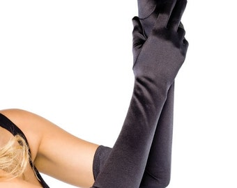 Opera length satin gloves