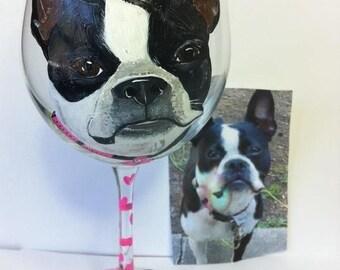 Custom Dog Portrait Wine Glasses