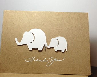 Gender Neutral Baby Shower Thank You Note Card Set Handmade White, Elephant Baby Shower Thank You, Elephants Thank You, White Elephants