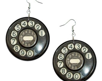 Vintage Telephone - handmade earrings - decoupage, Telephone Jewelry