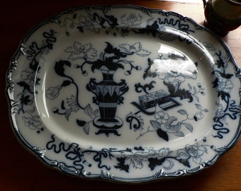 Very Large 19th Century Imperial Stone Flow Blue Platter