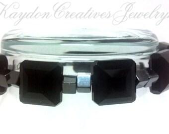 Handmade Geometric Bracelet, Hematite & Onyx