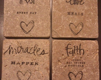 Natural Tumbled Marble LOVE Trust FAITH Miracles Coasters