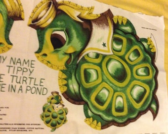 Cut and sew vintage pattern for animal pillow Tippy the turtle