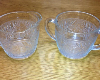 20% Off Retro pressed glass cream and sugar set